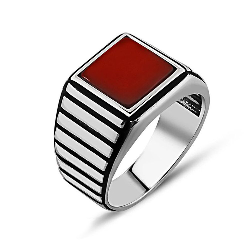925 Ayar Gümüş Kırmızı Akik Taşlı Yüzük (model 5)