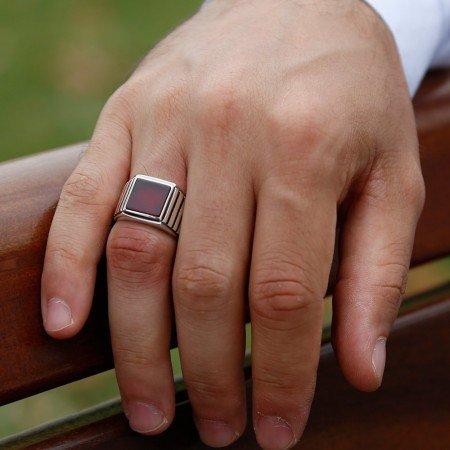 925 Ayar Gümüş Kırmızı Akik Taşlı Yüzük (model 5) - Thumbnail