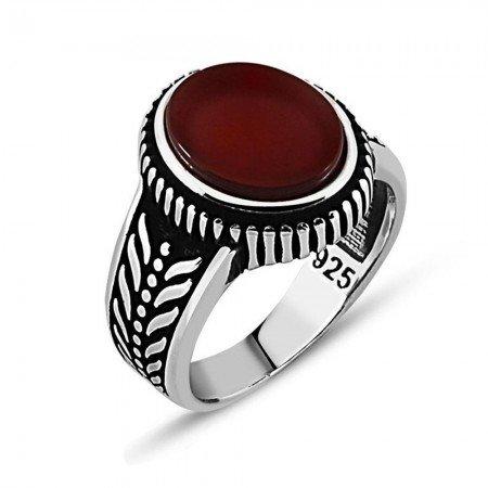 925 Ayar Gümüş Kırmızı Akik Taşlı Yüzük (model 8) - Thumbnail