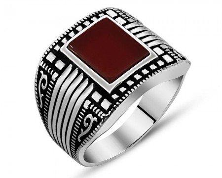 925 Ayar Gümüş Kırmızı Akik Taşlı Yüzük (Model-9) - Thumbnail