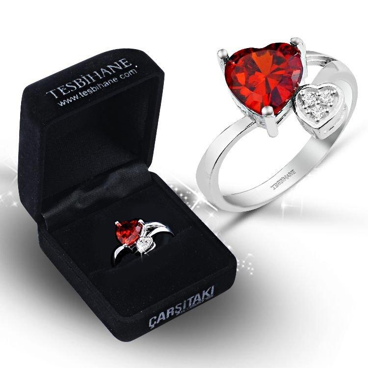 925 Ayar Gümüş Kırmızı Beyaz Zirkon Taşlı Çift Kalp Model Yüzük (BSR0021)