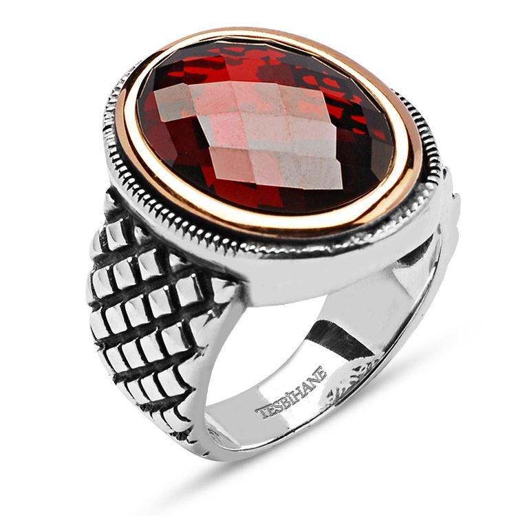 925 Ayar Gümüş Kırmızı Kristal Zirkon Taşlı Yüzük