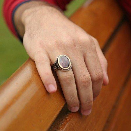 925 Ayar Gümüş Kırmızı Kristal Zirkon Taşlı Yüzük - Thumbnail