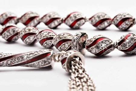 925 Ayar Gümüş Kırmızı Mine Kaplamalı Zirkon Taşlı Tesbih - Thumbnail