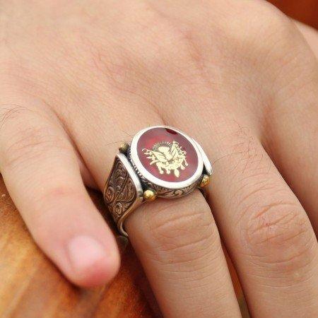 925 Ayar Gümüş Kırmızı Mine Üzerine Devlet Armalı Yüzük - Thumbnail