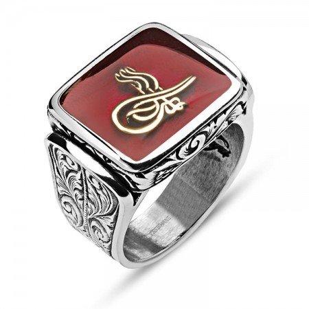 925 Ayar Gümüş Kırmızı Mine Üzerine Tuğralı Yüzük - Thumbnail