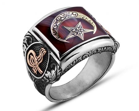 925 Ayar Gümüş Kırmızı Mineli Ay Yıldız Yüzük - Thumbnail