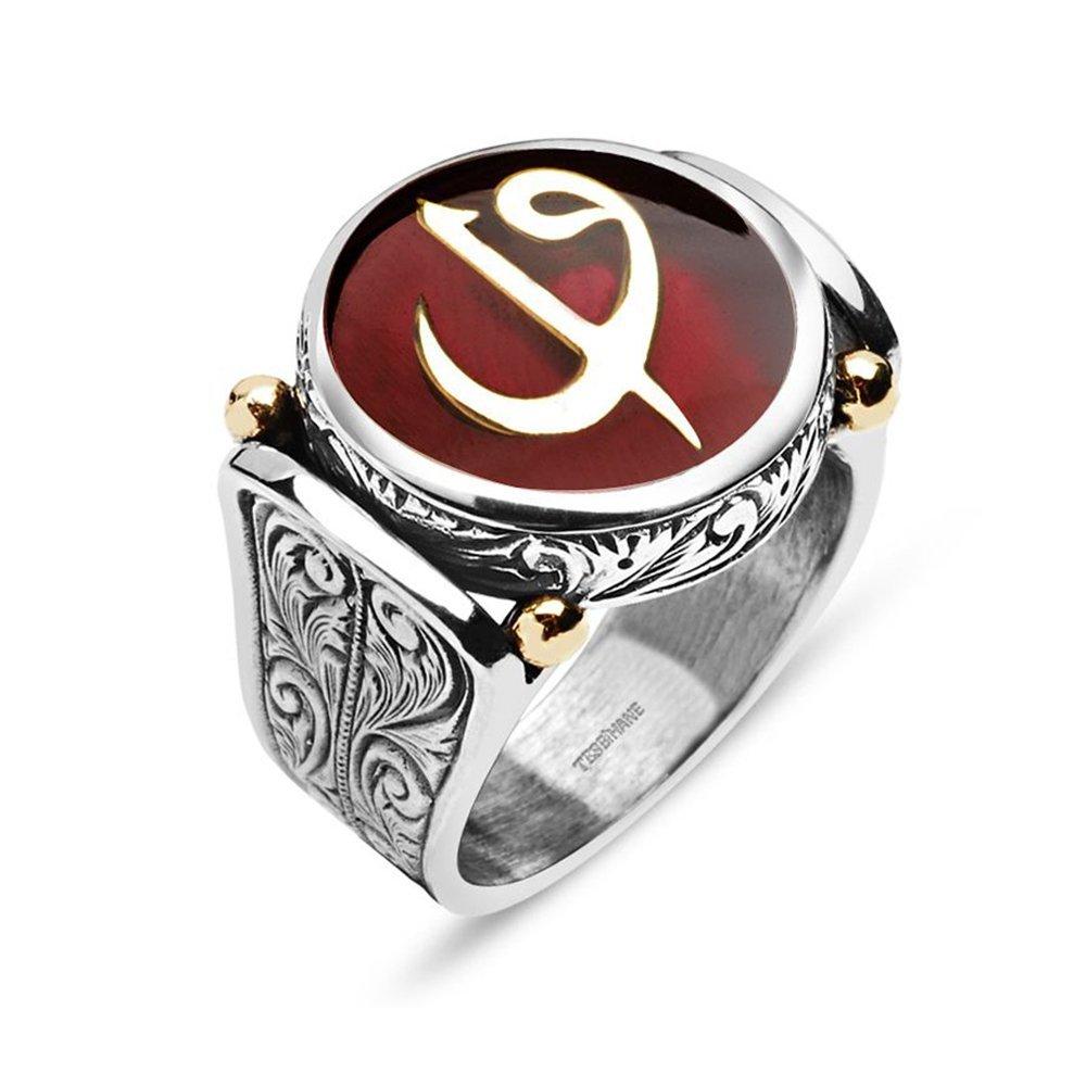 925 Ayar Gümüş Kırmızı Mineli Elif Vav Harfli Özel Tasarım Yüzük