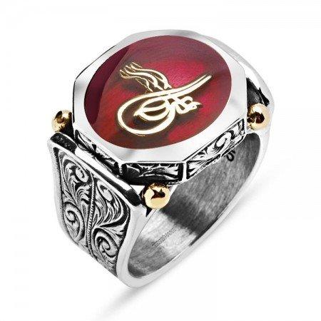 925 Ayar Gümüş Kırmızı Mineli Tuğralı Özel Tasarım Yüzük - Thumbnail