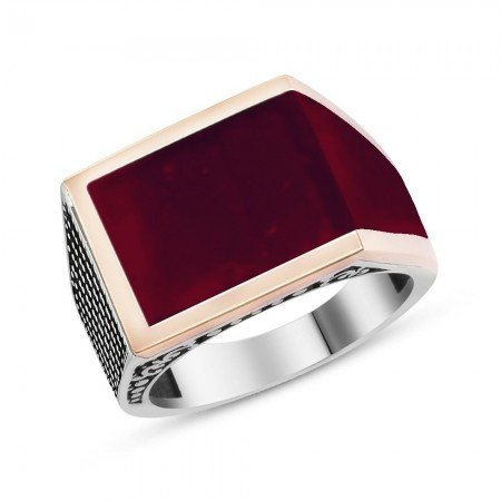 925 Ayar Gümüş Kırmızı Mineli Yüzük - Thumbnail