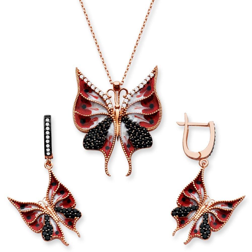 925 Ayar Gümüş Kırmızı Renk Kelebek Set