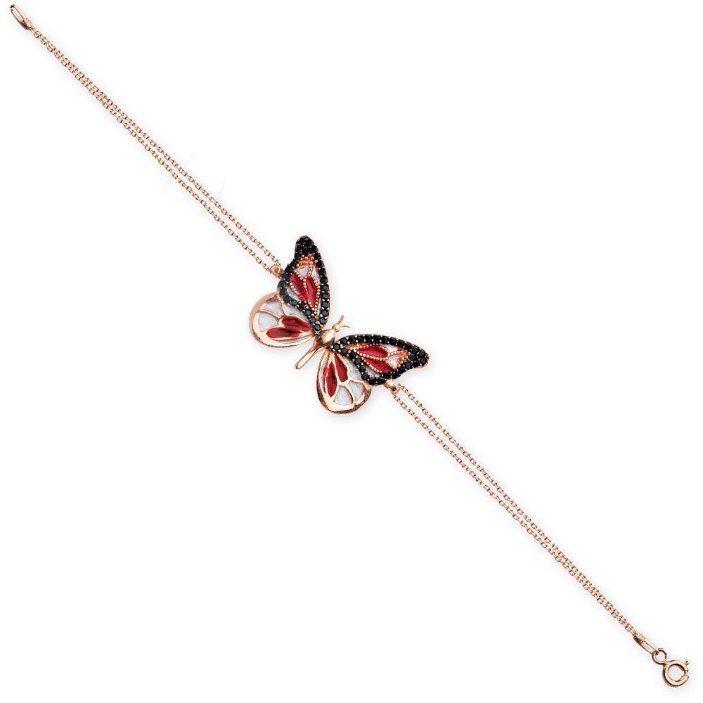 925 Ayar Gümüş Kırmızı Siyah Zirkon Taşlı Kelebek Bileklik
