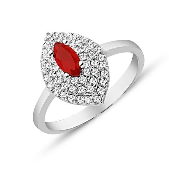 925 Ayar Gümüş Kırmızı ve Beyaz Zirkon Taşlı Yüzük