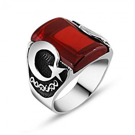 925 Ayar Gümüş Kırmızı Zirkon Taşlı Ay Yıldız Detaylı Yüzük - Thumbnail