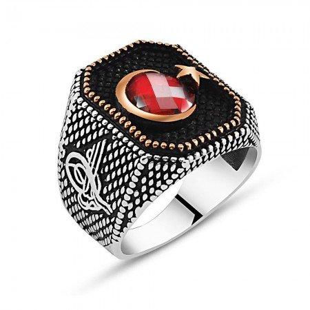 Tuğra İşlemeli Ayyıldız Motifli Kırmızı Zirkon Taşlı 925 Ayar Gümüş Yüzük - Thumbnail