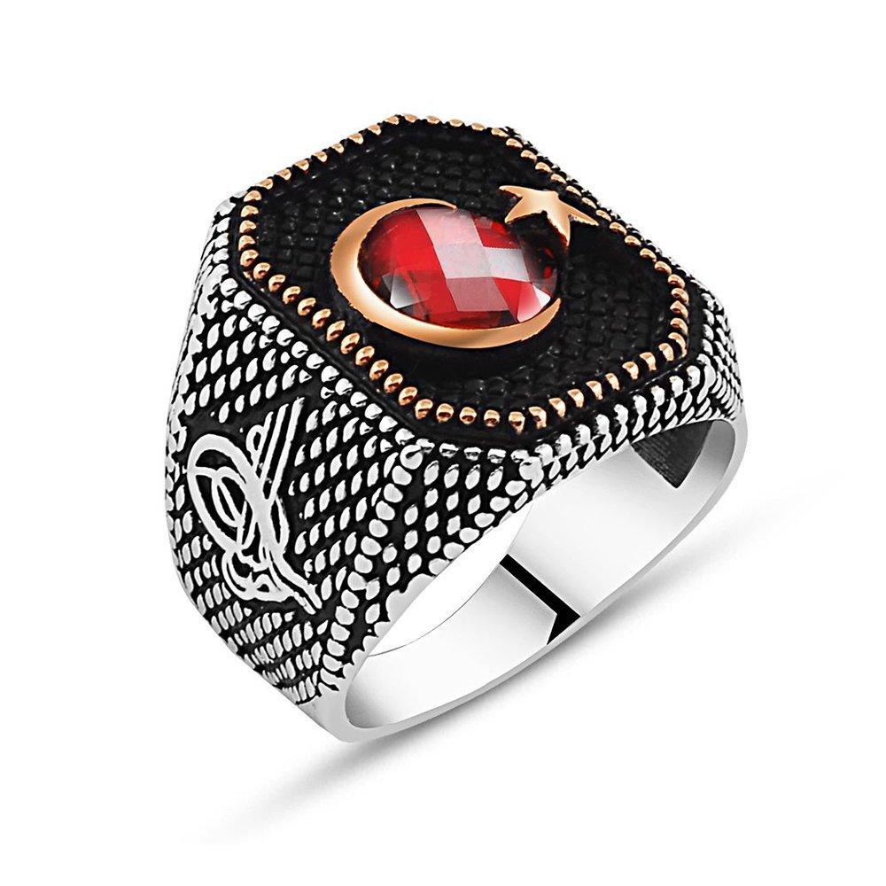 Tuğra İşlemeli Ayyıldız Motifli Kırmızı Zirkon Taşlı 925 Ayar Gümüş Yüzük