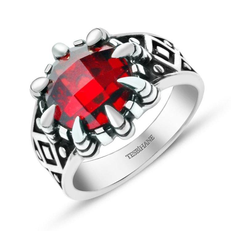 925 Ayar Gümüş Kırmızı Zirkon Taşlı Kartal Pençeli Yüzük