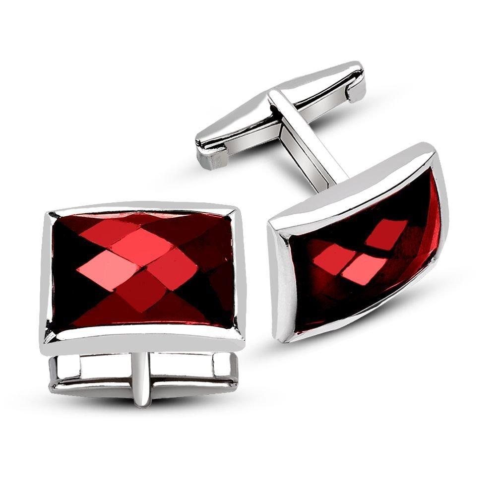 925 Ayar Gümüş Kırmızı Zirkon Taşlı Kol Düğmesi