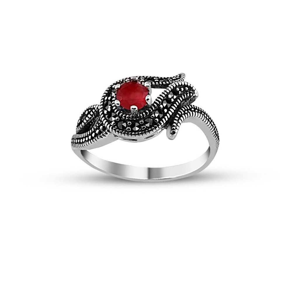 925 Ayar Gümüş Kırmızı Zirkon Taşlı Lale Yüzük