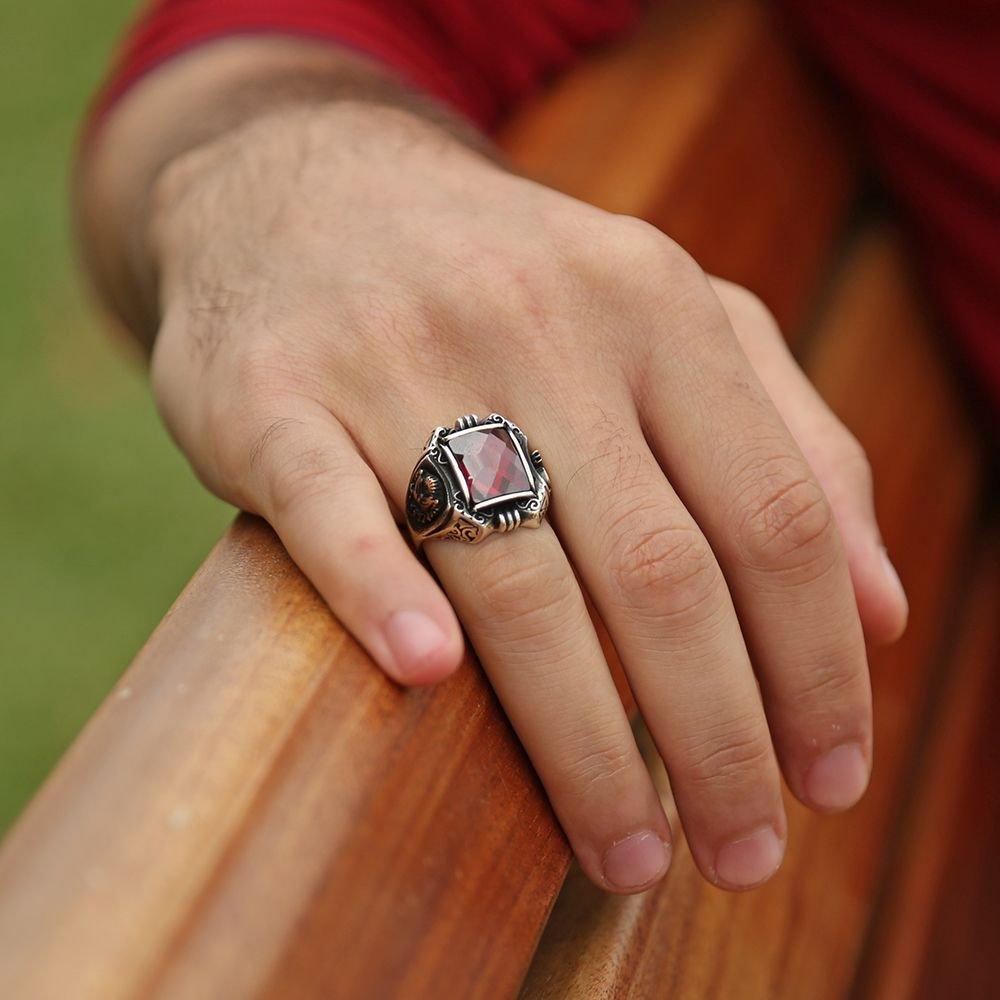 Tuğra İşlemeli Kırmızı Zirkon Taşlı 925 Ayar Gümüş Payitaht Erkek Yüzük
