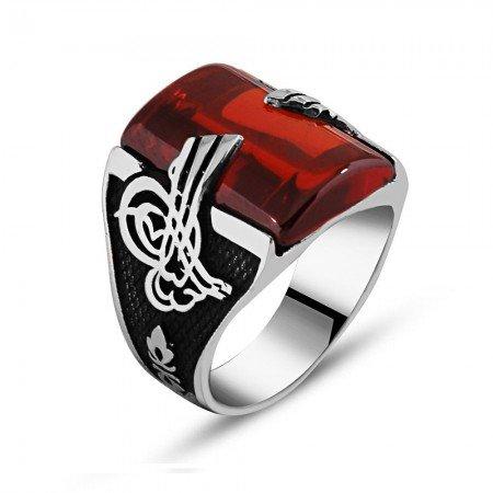 925 Ayar Gümüş Kırmızı Zirkon Taşlı Tuğra Detaylı Yüzük - Thumbnail