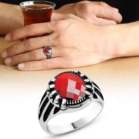 Kırmızı Oval Zirkon Taşlı 925 Ayar Gümüş Erkek Yüzük - Thumbnail