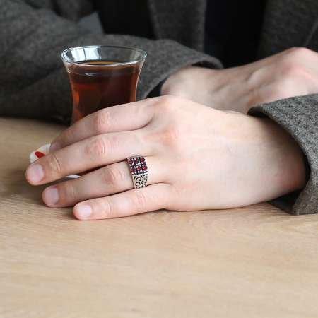 925 Ayar Gümüş Kırmızı Zirkon Taşlı Yüzük - Thumbnail