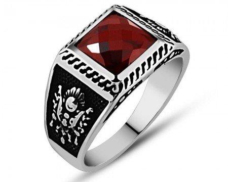 925 Ayar Gümüş Kırmızı Zirkon Taşlı Yüzük (model 3) - Thumbnail