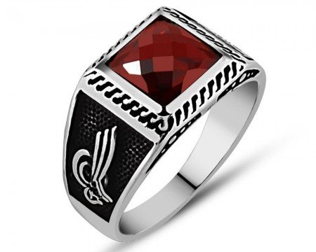 925 Ayar Gümüş Kırmızı Zirkon Taşlı Yüzük (Model-4) - Thumbnail