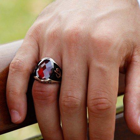 925 Ayar Gümüş Kırmızı Zirkon Taşlı Yüzük (Model-5) - Thumbnail