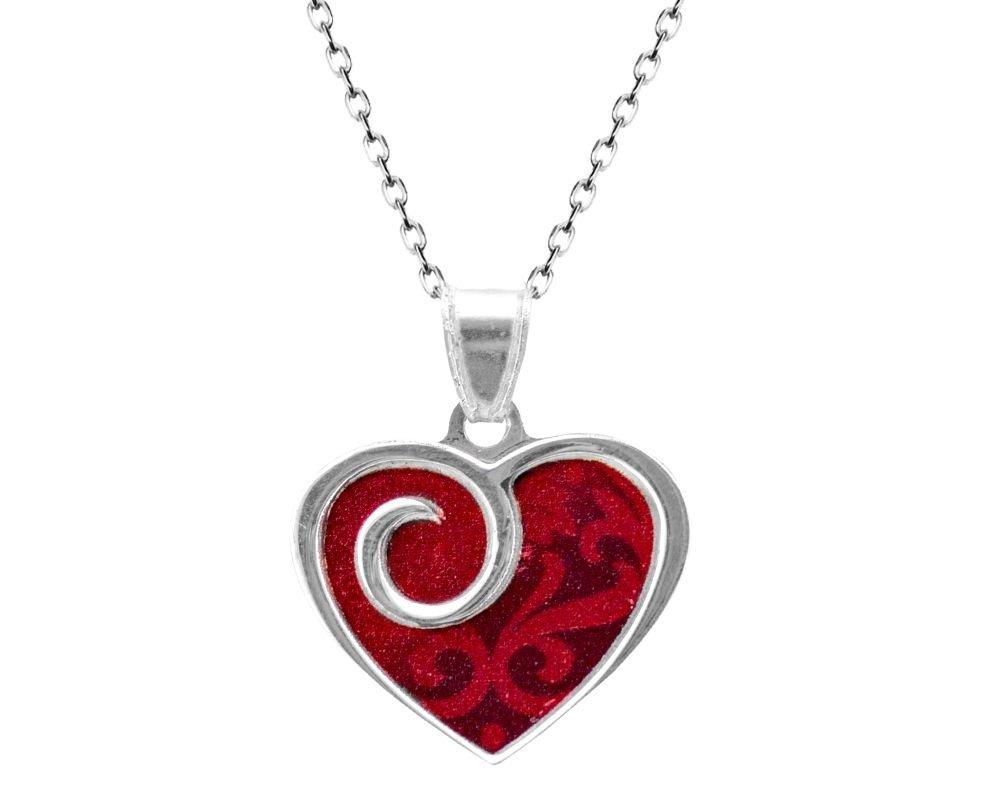 925 Ayar Gümüş Kırmzı Kalp Kolye
