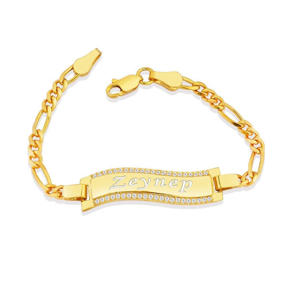 925 Ayar Gümüş Zirkon Taşlı Gold Renk İsim Yazılı Çocuk Bileklik (M-1)