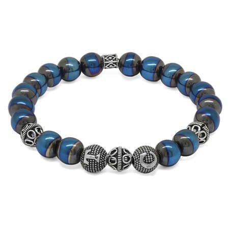 925 Ayar Gümüş Kişiye Özel Harf Yazılı Küre Kesim Mavi Hematit Doğaltaş Bileklik - Thumbnail