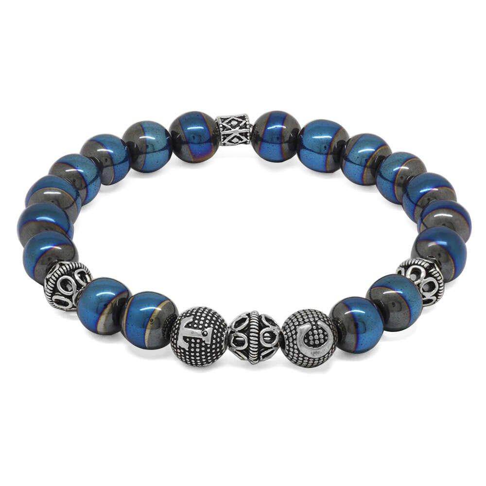 925 Ayar Gümüş Kişiye Özel Harf Yazılı Küre Kesim Mavi Hematit Doğaltaş Bileklik