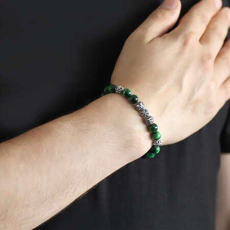 925 Ayar Gümüş Kişiye Özel Harf Yazılı Küre Kesim Yeşil Kaplangözü Doğaltaş Bileklik - Thumbnail