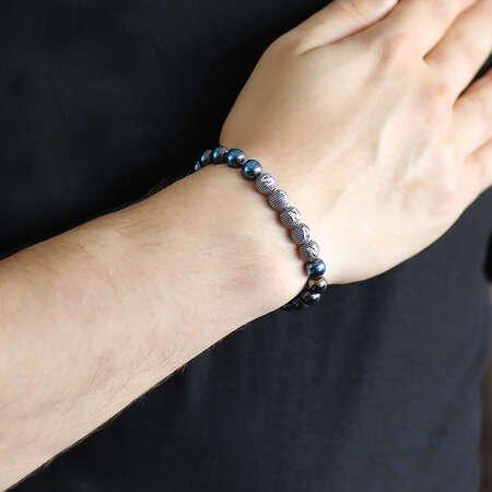 925 Ayar Gümüş Kişiye Özel İsim Yazılı Küre Kesim Mavi Hematit Doğaltaş Bileklik - Thumbnail