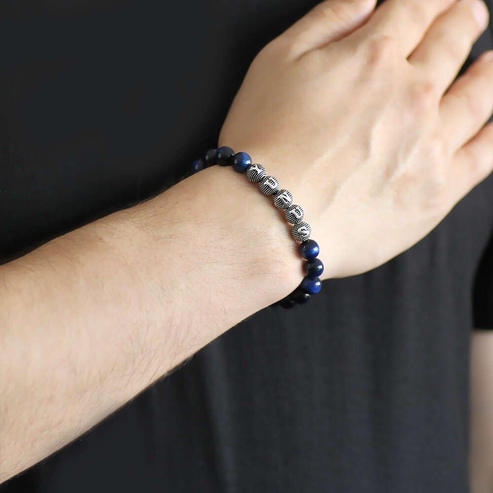 925 Ayar Gümüş Kişiye Özel İsim Yazılı Küre Kesim Mavi Kaplangözü Doğaltaş Bileklik