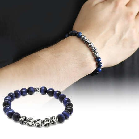 925 Ayar Gümüş Kişiye Özel İsim Yazılı Küre Kesim Mavi Kaplangözü Doğaltaş Bileklik - Thumbnail