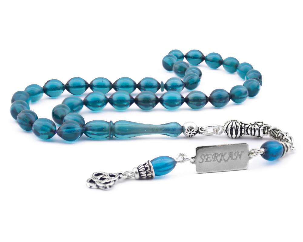 925 Ayar Gümüş Kişiye Özel Püsküllü Mavi Sıkma Kehribar Tesbih