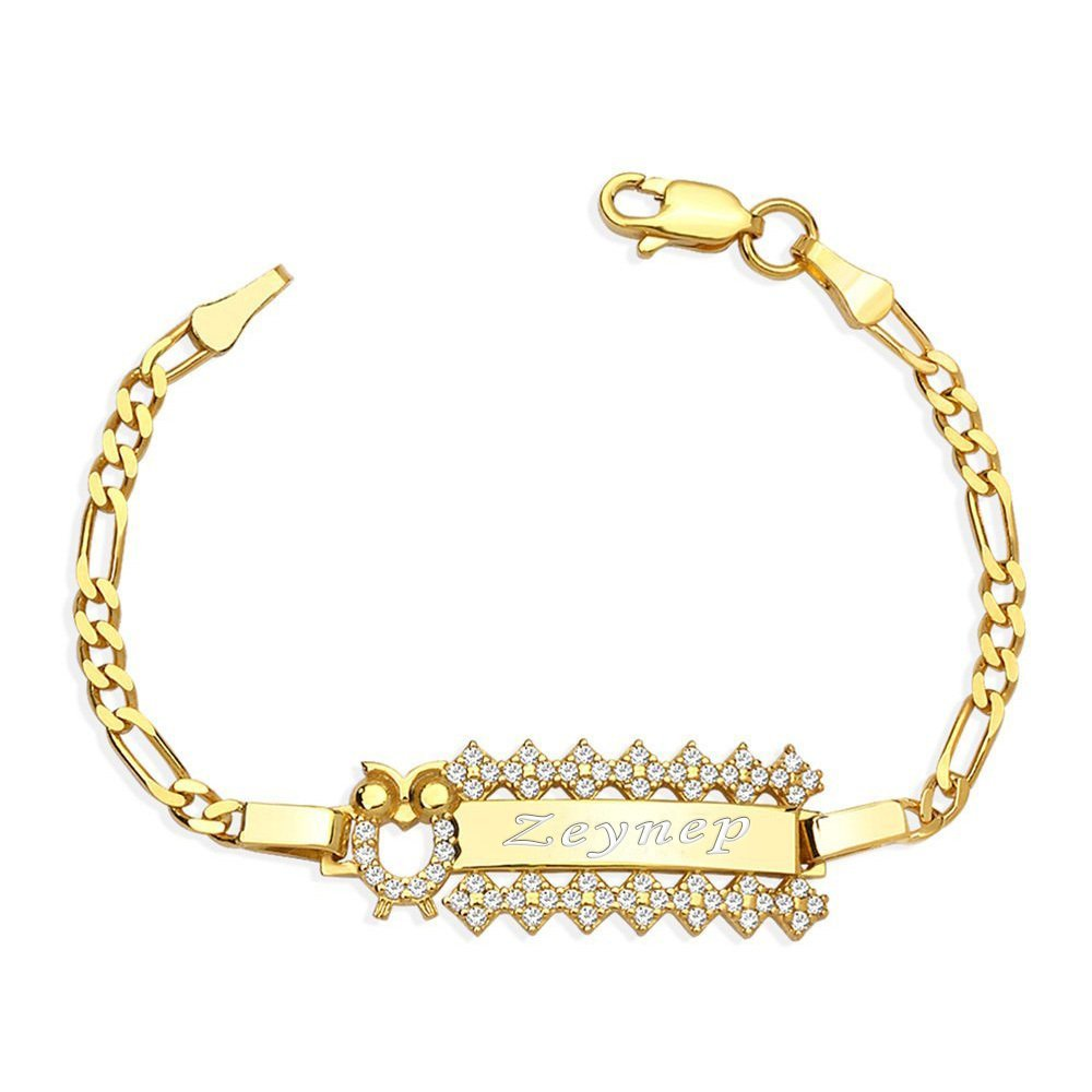 925 Ayar Gümüş Zirkon Taşlı Gold Renk Baykuş Tasarım İsim Yazılı Çocuk Bileklik