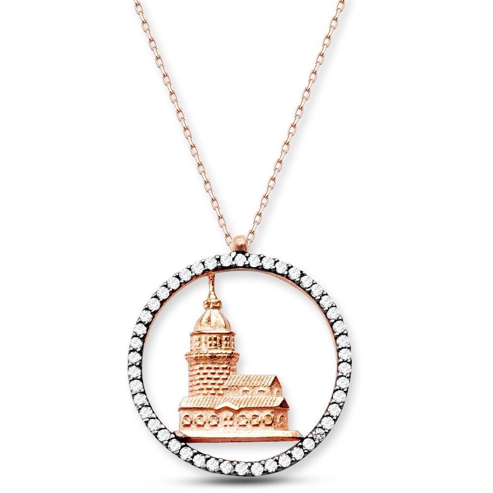 925 Ayar Gümüş Kız Kulesi Kolye
