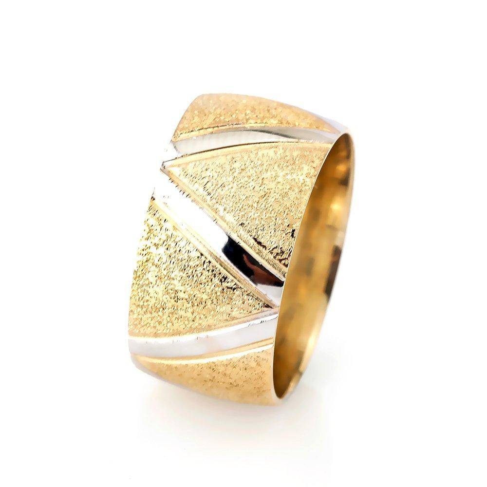 Z Tasarım Gold Renk 925 Ayar Gümüş Bayan Alyans