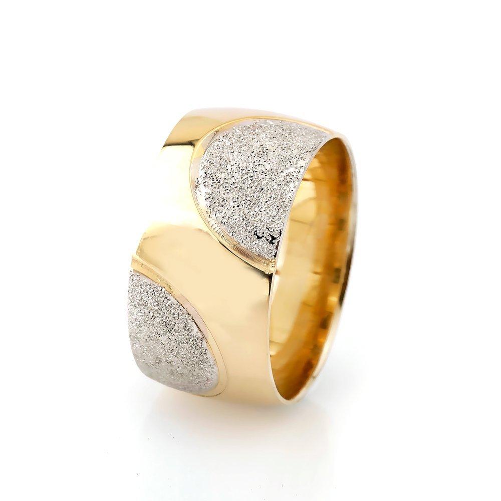 Yarım Daire Tasarım Gold Renk 925 Ayar Gümüş Bayan Alyans
