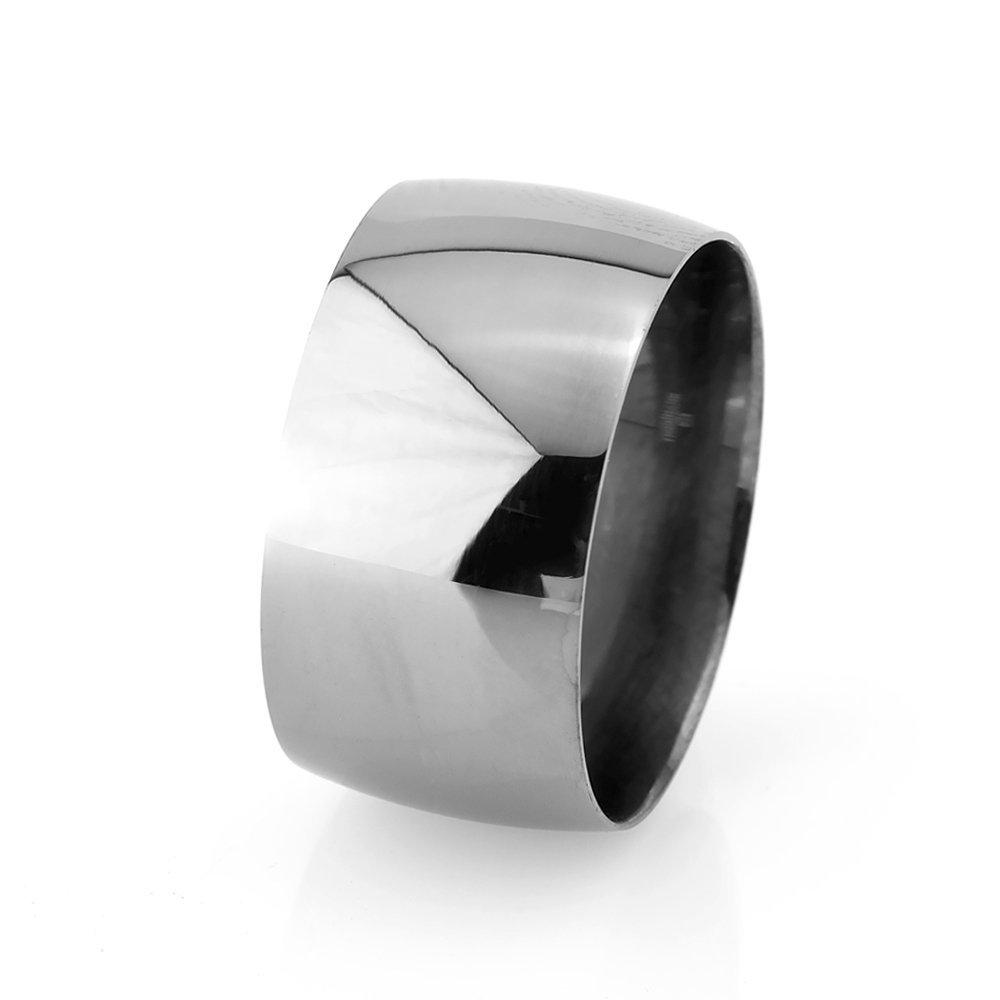 Klasik Tasarım Bombeli Siyah Rodyum Rengi 925 Ayar Gümüş Erkek Alyans (M-3)