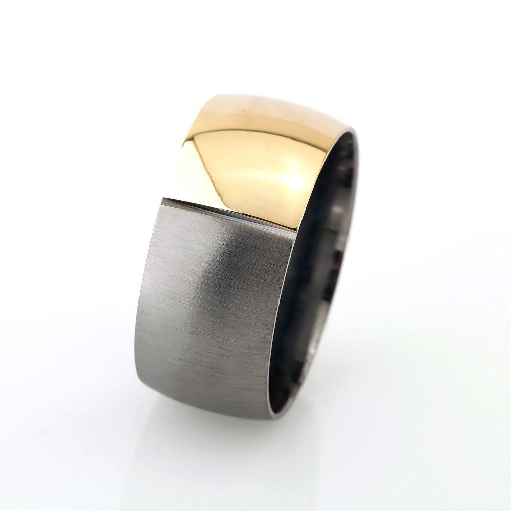 Klasik Tasarım Bombeli Gold-Gri Renk 925 Ayar Gümüş Erkek Alyans
