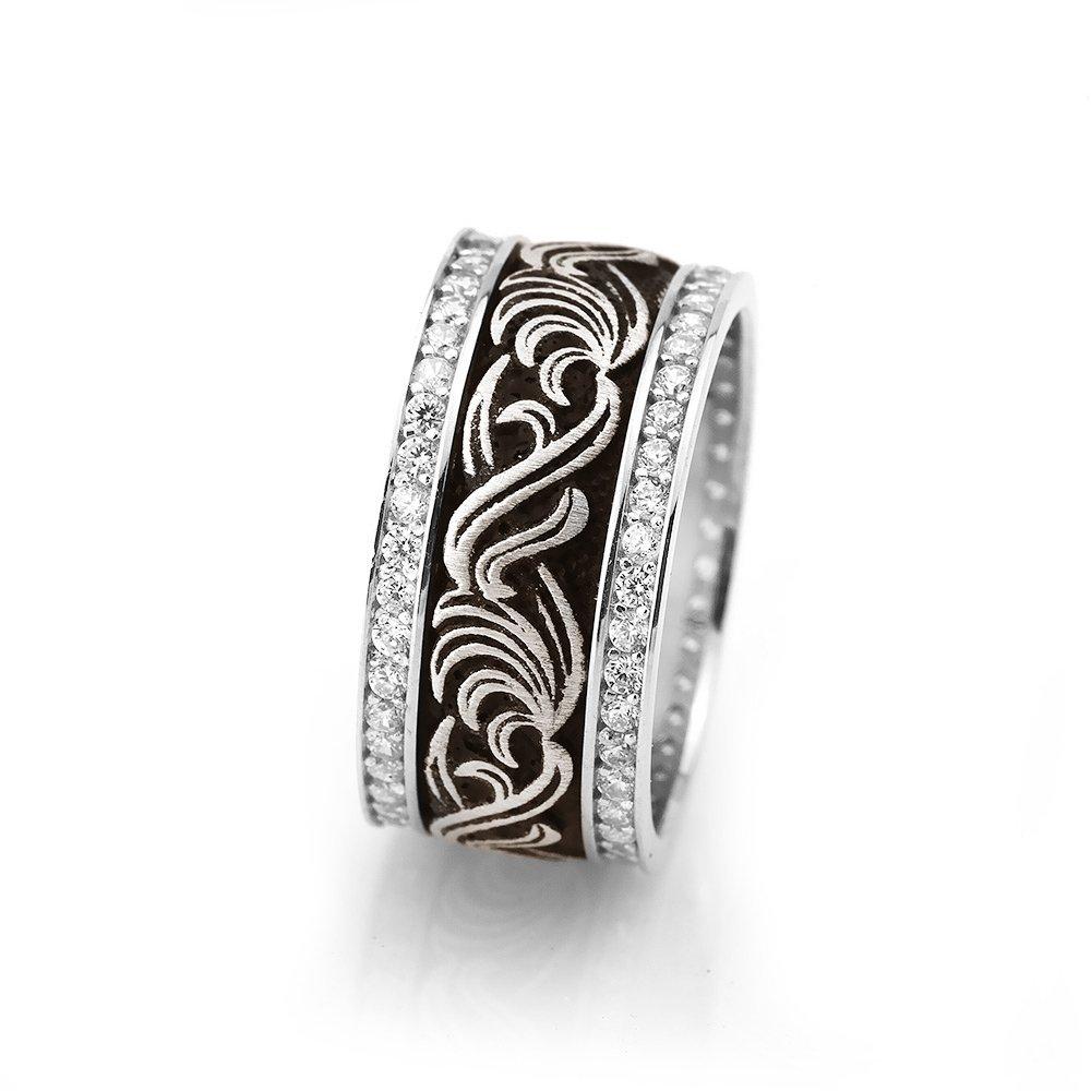 Motif İşlemeli Zirkon Taşlı 925 Ayar Gümüş Bayan Alyans