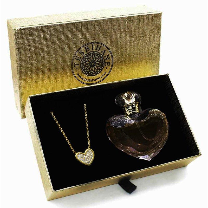 Zirkon Taşlı Kalp Tasarım 925 Ayar Gümüş Bayan Kolye ve Parfüm Seti