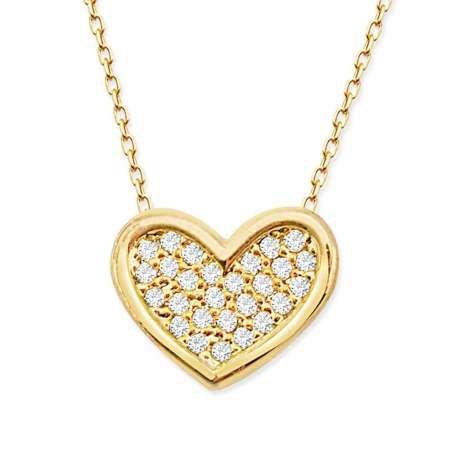 Zirkon Taşlı Kalp Tasarım 925 Ayar Gümüş Bayan Kolye ve Parfüm Seti - Thumbnail