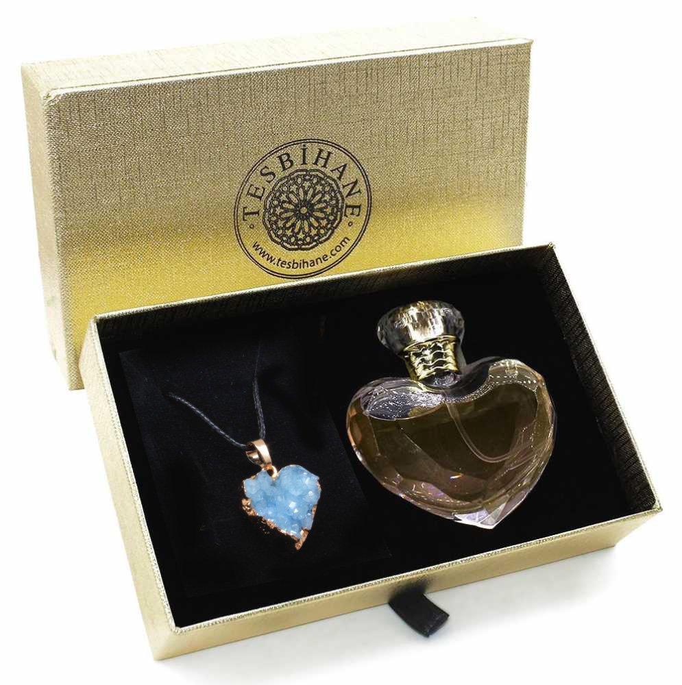 Kuvars Doğaltaşlı 925 Ayar Gümüş Bayan Kolye ve Parfüm Seti