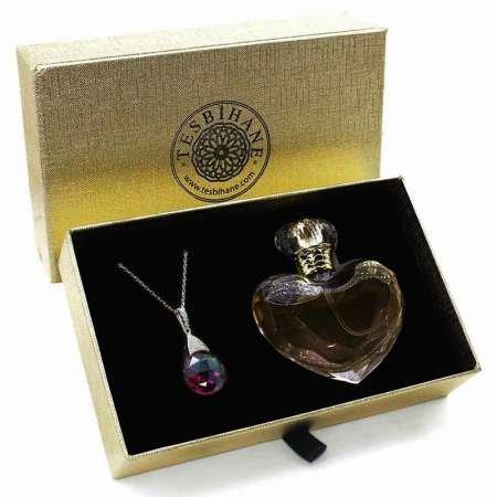 Fuşya Zirkon Taşlı 925 Ayar Gümüş Bayan Kolye ve Parfüm Seti - Thumbnail